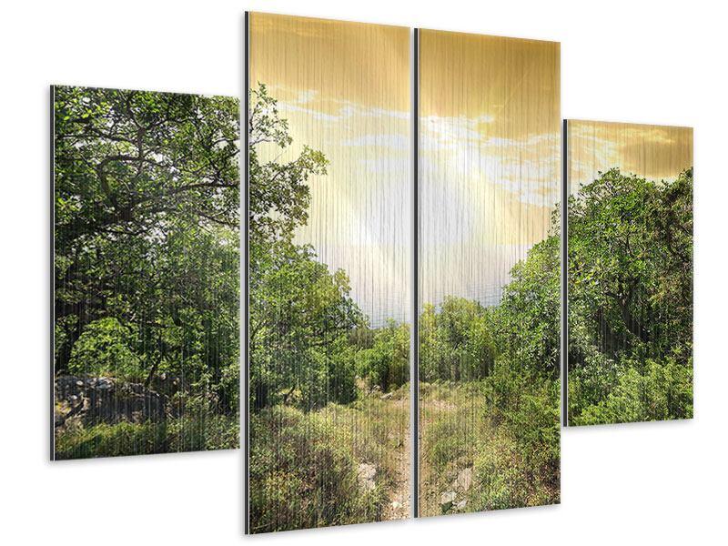 Metallic-Bild 4-teilig Am Ende des Waldes