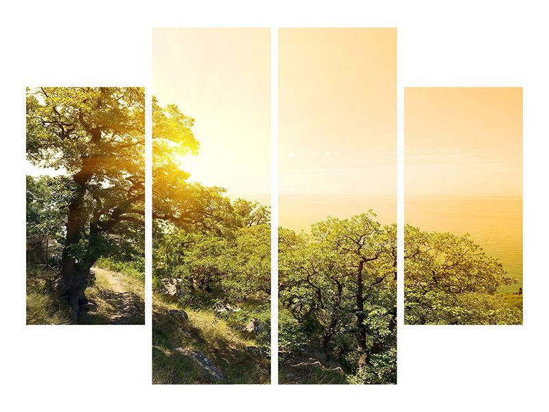 Metallic-Bild 4-teilig Sonnenuntergang in der Natur