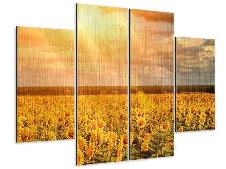 Metallic-Bild 4-teilig Goldenes Licht für Sonnenblumen