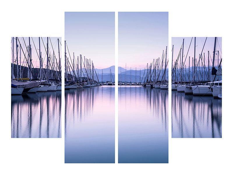 Metallic-Bild 4-teilig Yachthafen