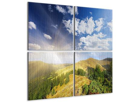 Metallic-Bild 4-teilig Sonnenaufgang im Gebirge
