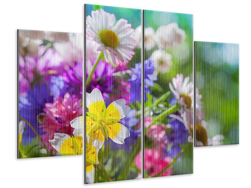 Metallic-Bild 4-teilig XXL Gartenblumen