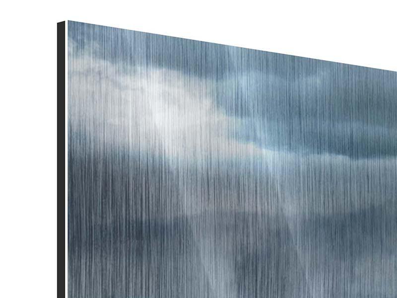 Metallic-Bild 4-teilig Silberstreifen