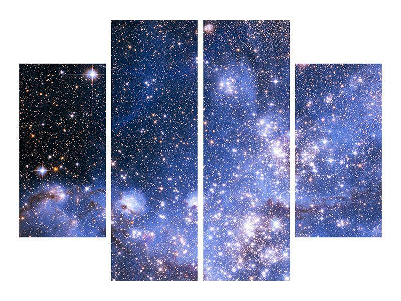 Metallic-Bild 4-teilig Sternenhimmel
