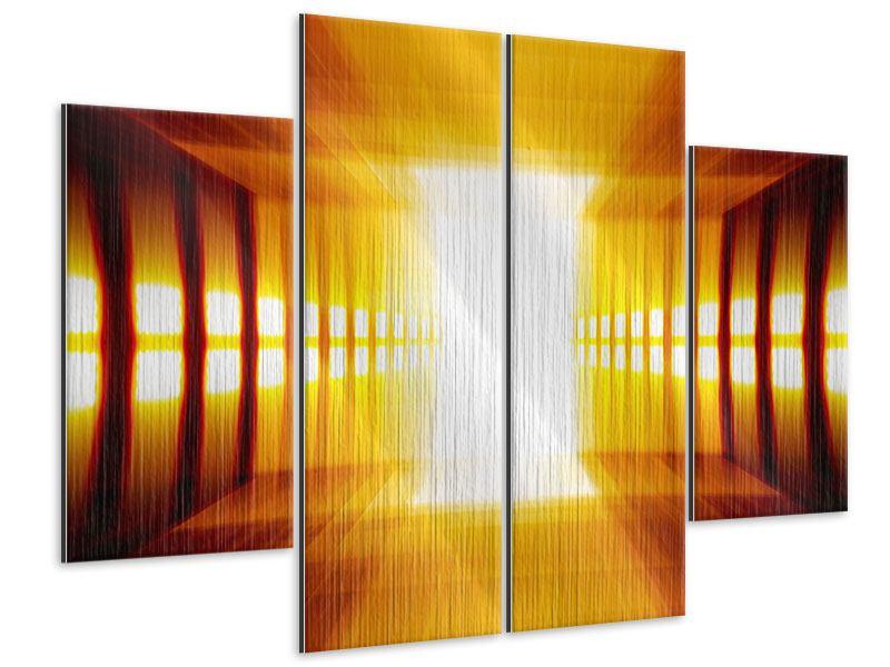 Metallic-Bild 4-teilig Abstrakter Goldener Raum