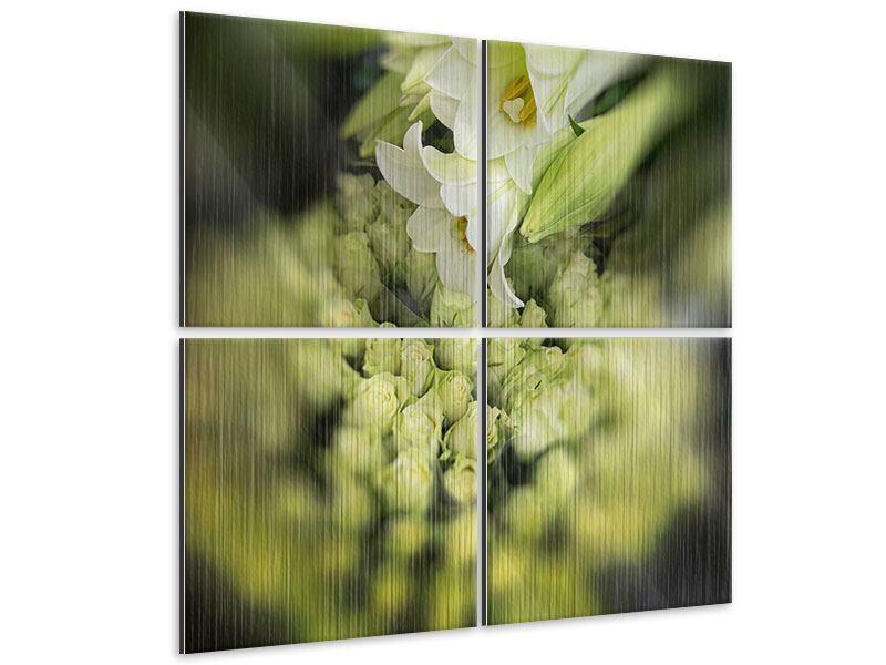 Metallic-Bild 4-teilig Die Lilien und Friends