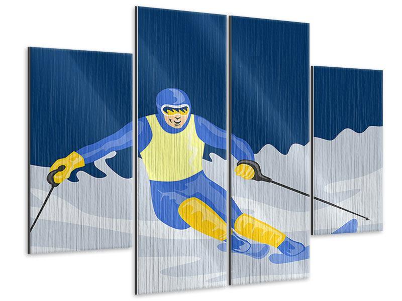 Metallic-Bild 4-teilig Skifahrer im Retrostyle