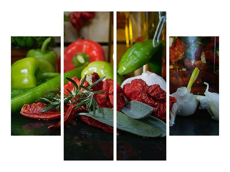 Metallic-Bild 4-teilig Mediterranes Gemüse