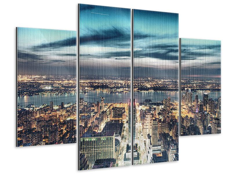 Metallic-Bild 4-teilig Skyline Manhattan Citylights