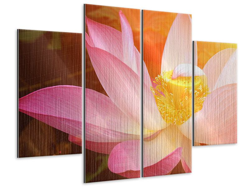 Metallic-Bild 4-teilig Close Up Lotus