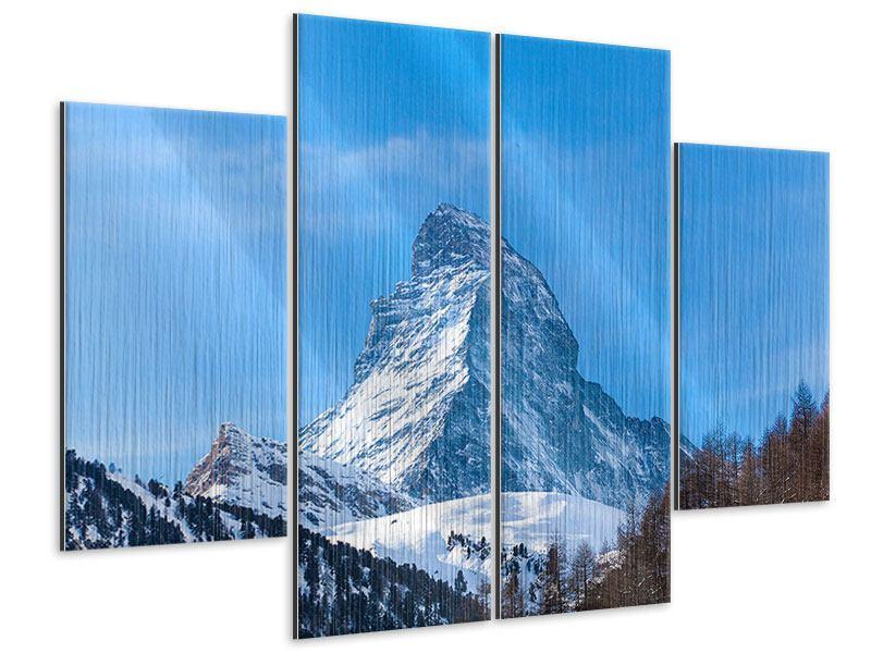 Metallic-Bild 4-teilig Das majestätische Matterhorn