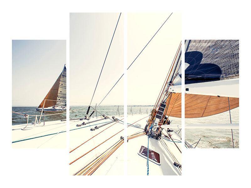 Metallic-Bild 4-teilig Segelyacht