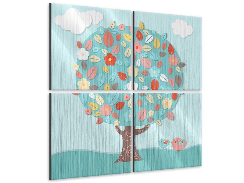 Metallic-Bild 4-teilig Der Kinderzimmer Baum