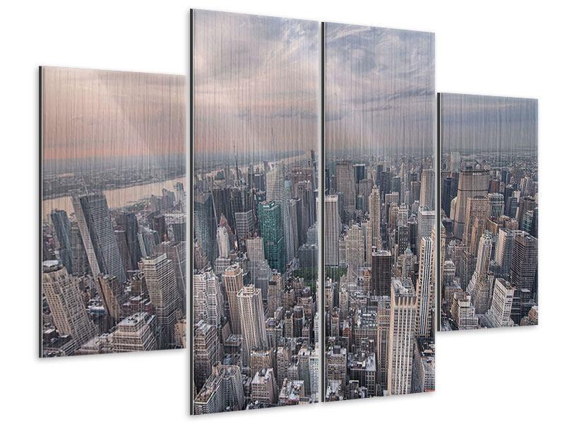 Metallic-Bild 4-teilig Skyline Blick über Manhattan