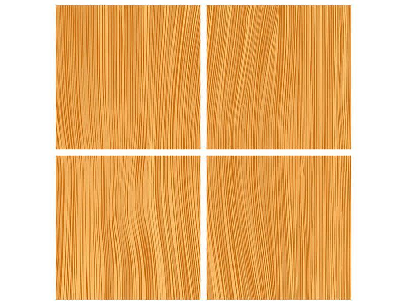 Metallic-Bild 4-teilig Wooden