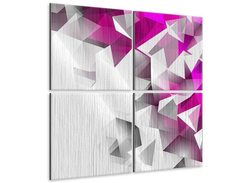 Metallic-Bild 4-teilig 3D-Kristalle Pink