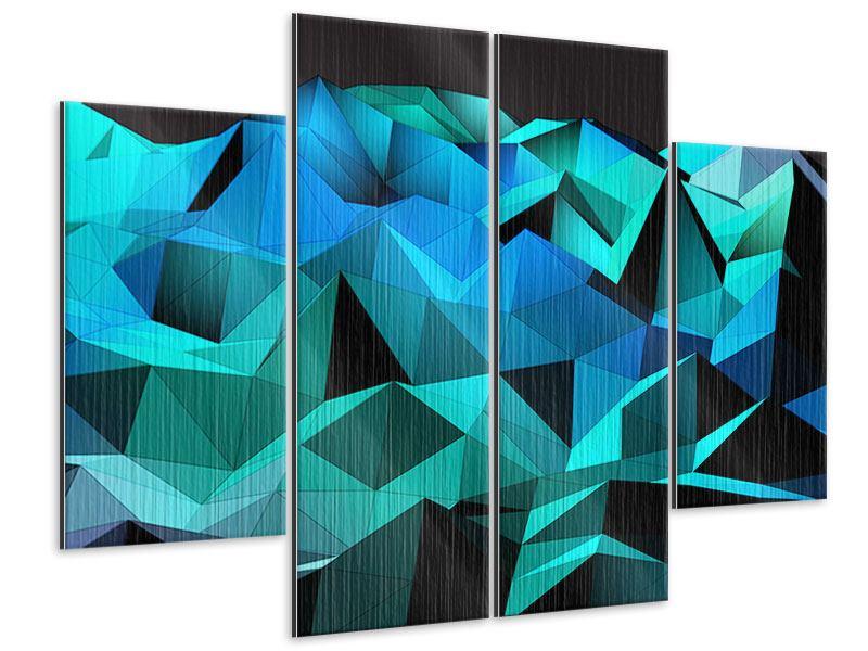 Metallic-Bild 4-teilig 3D-Diamonds