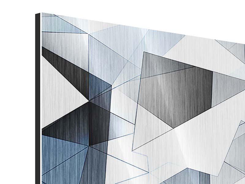 Metallic-Bild 4-teilig 3D-Kristalle