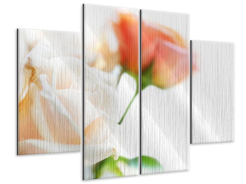 Metallic-Bild 4-teilig Rosenperspektive