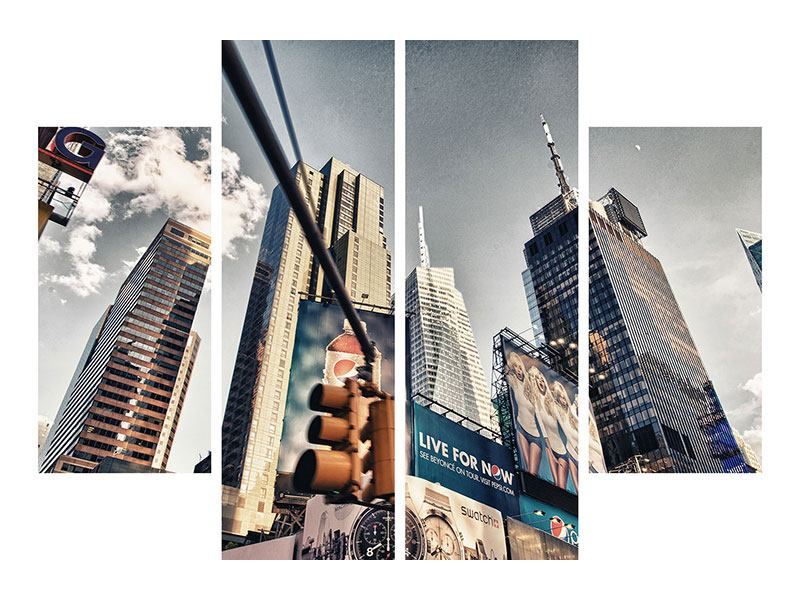 Metallic-Bild 4-teilig Times Square
