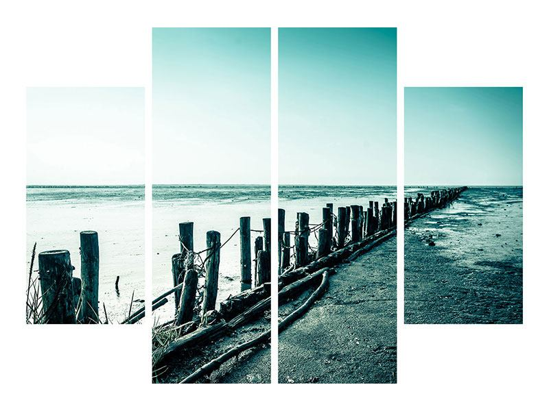 Metallic-Bild 4-teilig Das Wattenmeer