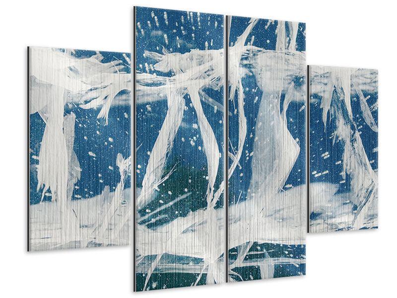 Metallic-Bild 4-teilig Eiskristalle