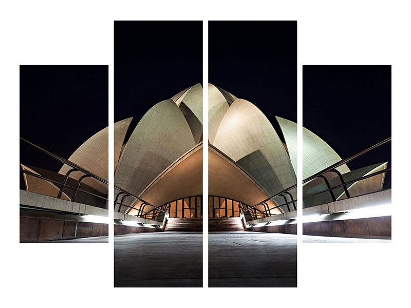 Metallic-Bild 4-teilig Der Lotus-Tempel