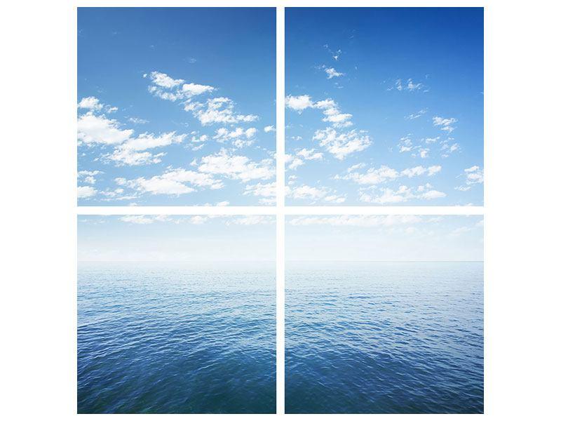 Metallic-Bild 4-teilig Unendlichkeit Meer