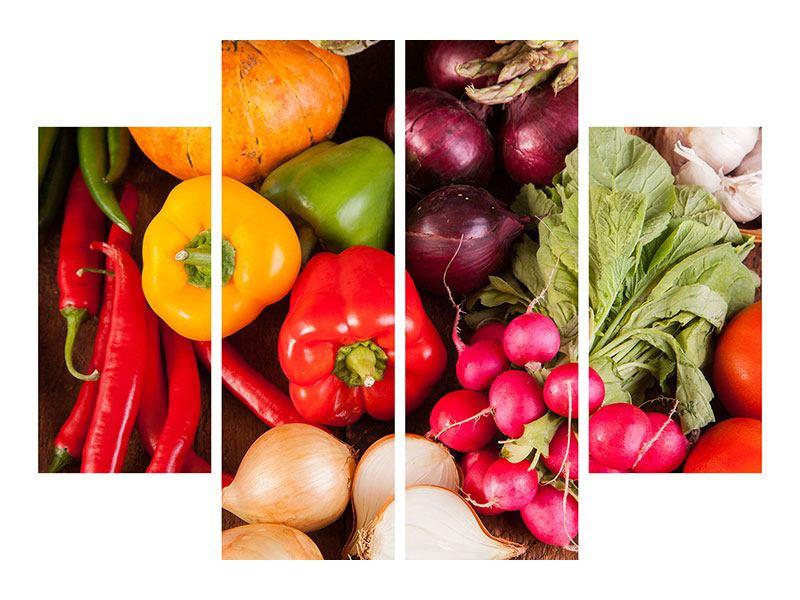 Metallic-Bild 4-teilig Gemüsefrische