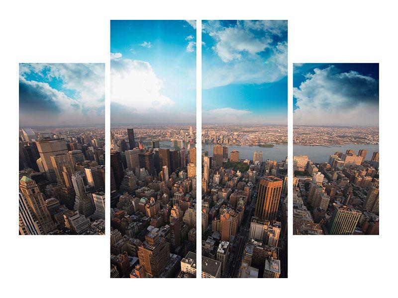 Metallic-Bild 4-teilig Skyline Über den Dächern von Manhattan