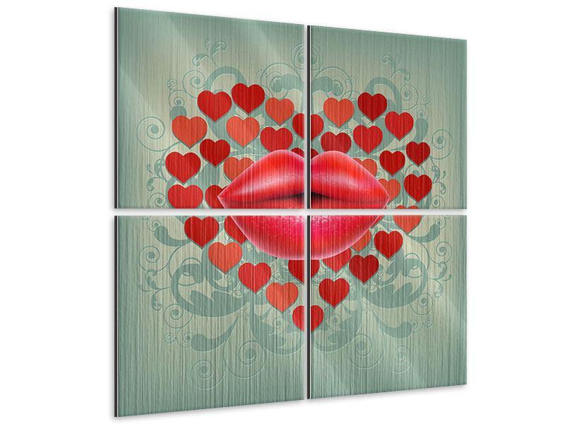 Metallic-Bild 4-teilig Rote Lippen soll man küssen