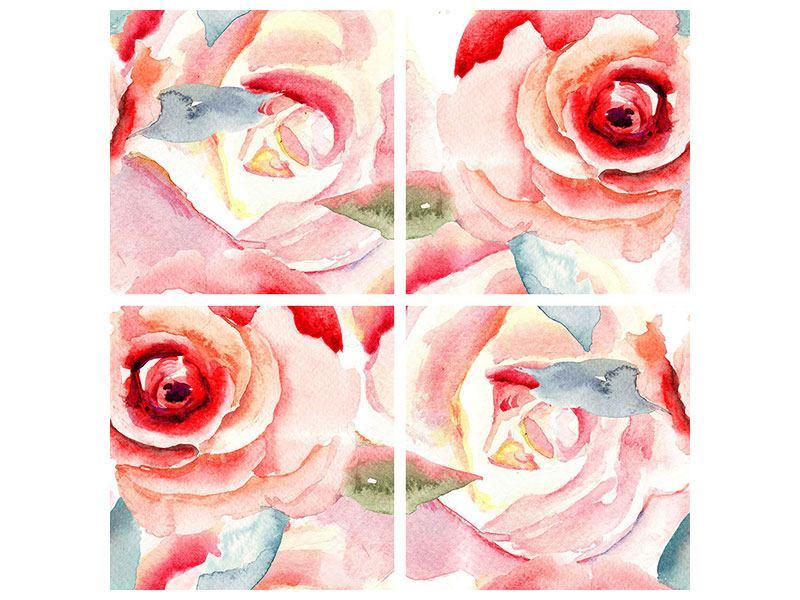 Metallic-Bild 4-teilig Rosengemälde