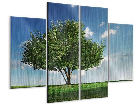 Metallic-Bild 4-teilig Baum im Grün
