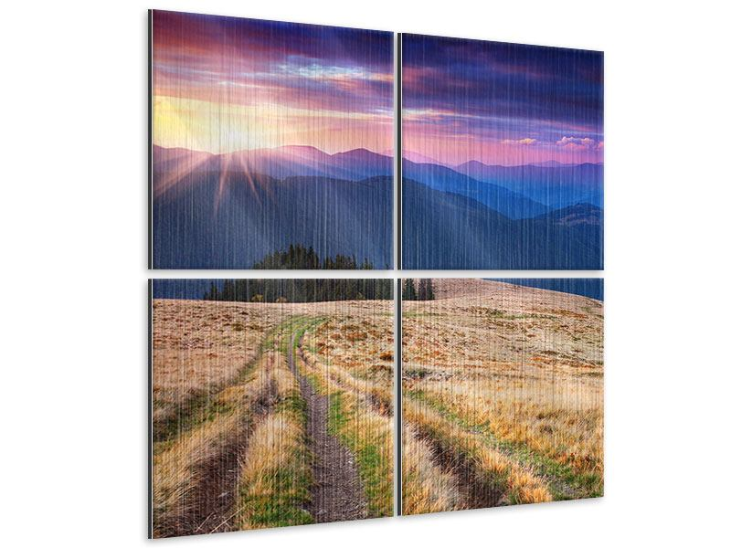 Metallic-Bild 4-teilig Sonnenuntergang in der Bergwelt