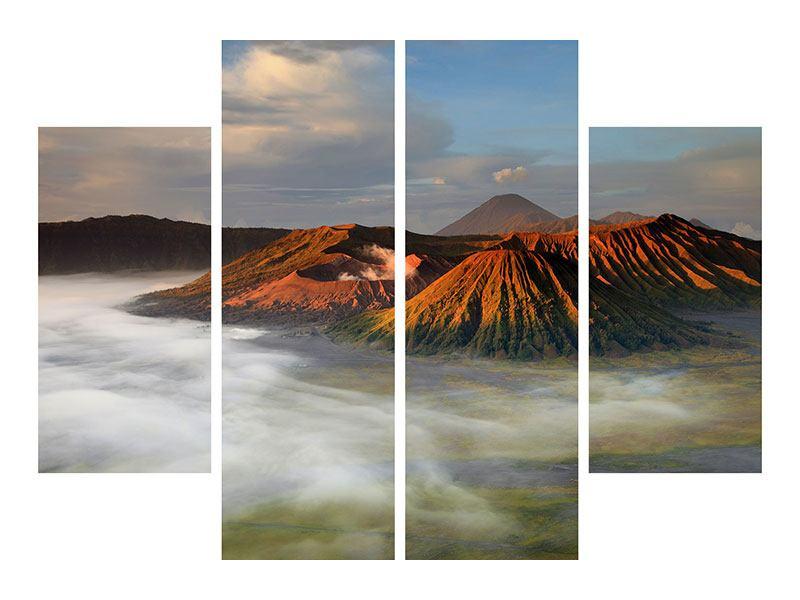 Metallic-Bild 4-teilig Der Bromo Vulkan