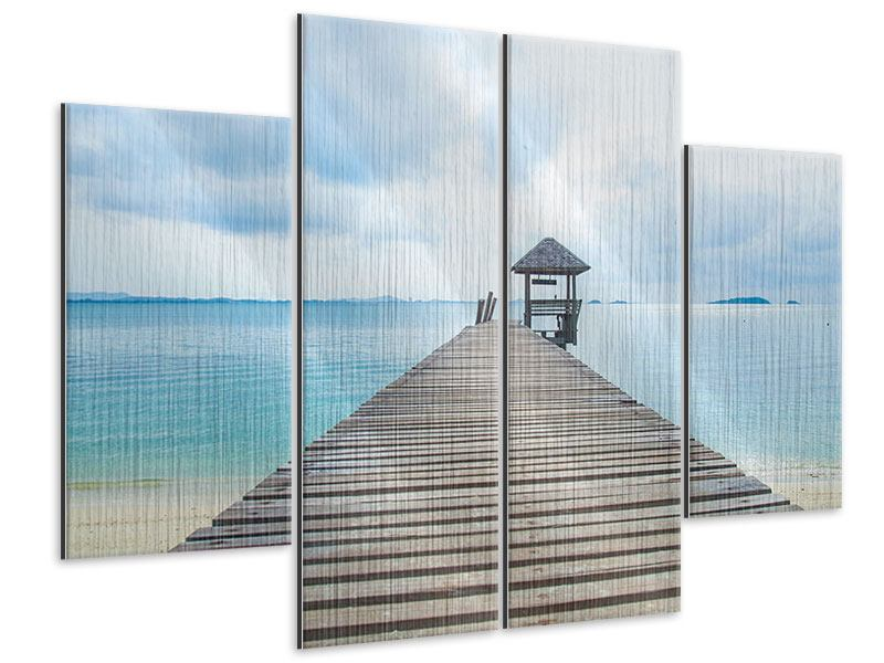 4 Piece Metallic Print Ocean Footbridge