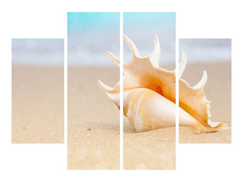 Metallic-Bild 4-teilig Die Muschel am Strand
