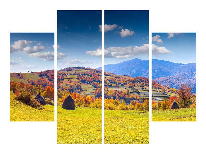 Metallic-Bild 4-teilig Herbstliche Berglandschaft
