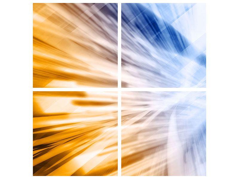Metallic-Bild 4-teilig Abstrakte Galaxie