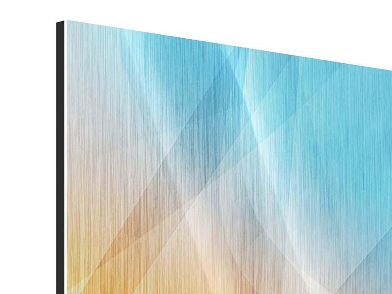 Metallic-Bild 4-teilig Abstrakte Fliessende Farben