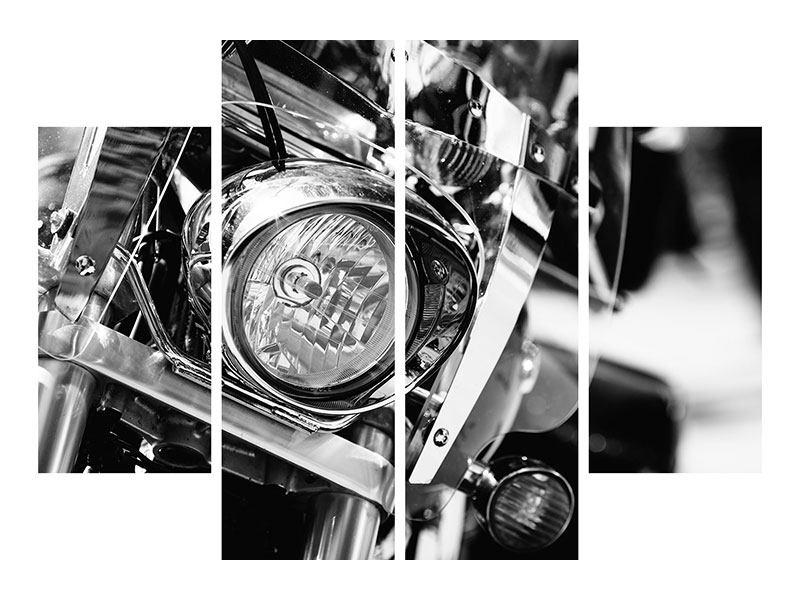 Metallic-Bild 4-teilig Motorrad Close Up