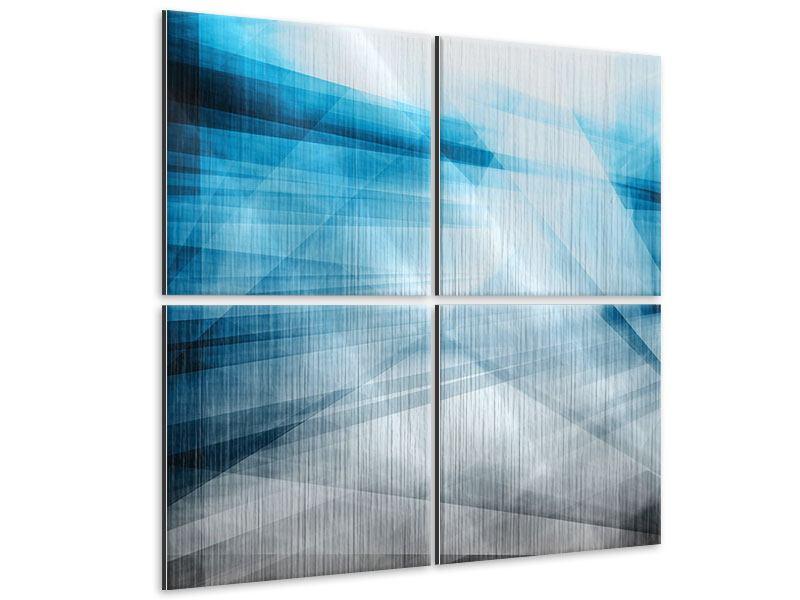 Metallic-Bild 4-teilig Abstrakte Lichtshow