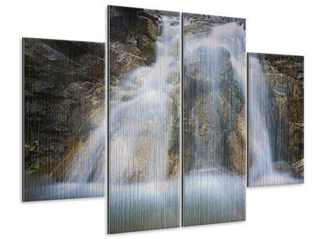 Metallic-Bild 4-teilig Imposanter Wasserfall