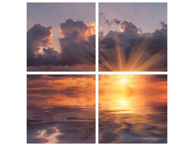 Metallic-Bild 4-teilig Packender Sonnenuntergang