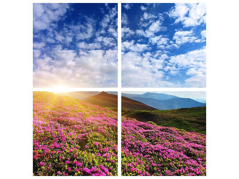 Metallic-Bild 4-teilig Blumige Berglandschaft