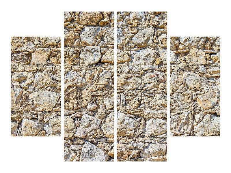 Metallic-Bild 4-teilig Sandsteinmauer