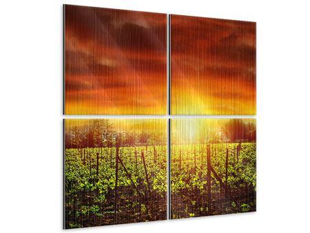 Metallic-Bild 4-teilig Der Weinberg bei Sonnenuntergang