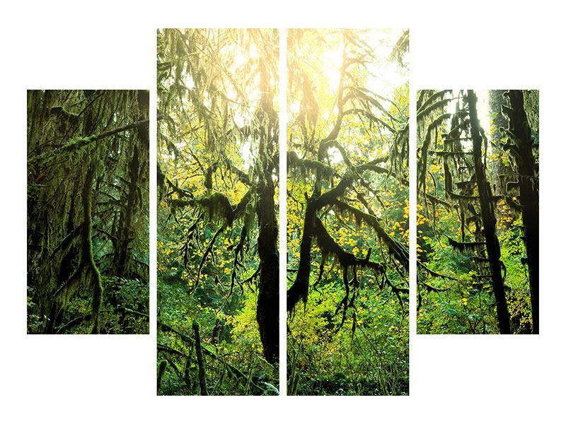Metallic-Bild 4-teilig Verträumter Wald