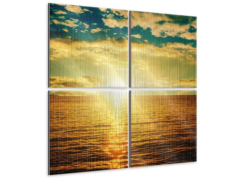 Metallic-Bild 4-teilig Sonnenuntergang am Meereshorizont