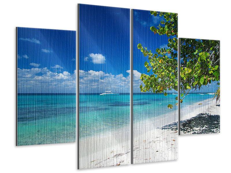 Metallic-Bild 4-teilig Happy Beach